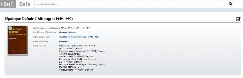 Copie d'écran de data.bnf.fr sur un lieu