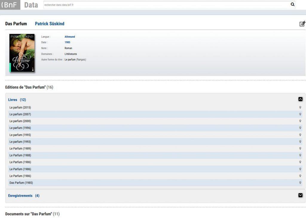 Copie d'écran de data.bnf.fr sur une œuvre